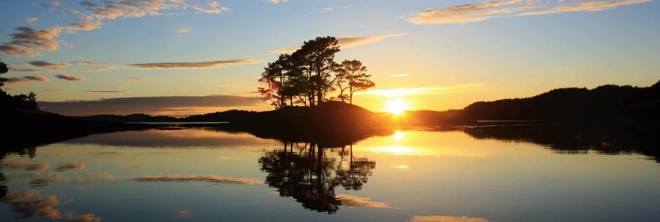 Solnedgong i fjorden