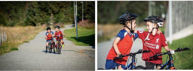 gutter på sykkel