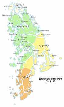Kart som visar kommuneinndelinga før 1963