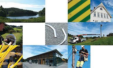 Collage som visar tilsette i Kraftlaget i arbeid ute i felten